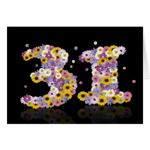 31st birthday card with flowery letters