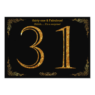 31st Birthday party,Gatsby styl,black gold glitter 13 Cm X 18 Cm Invitation Card
