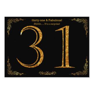 31st Birthday party,Gatsby styl,black gold glitter Card