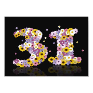 31st Birthday party, with flowered letters Custom Announcements