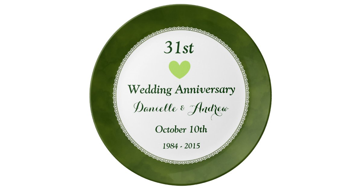 31 Wedding Anniversary Gift: 31st Wedding Anniversary Green Cloud Pattern W31A Plate