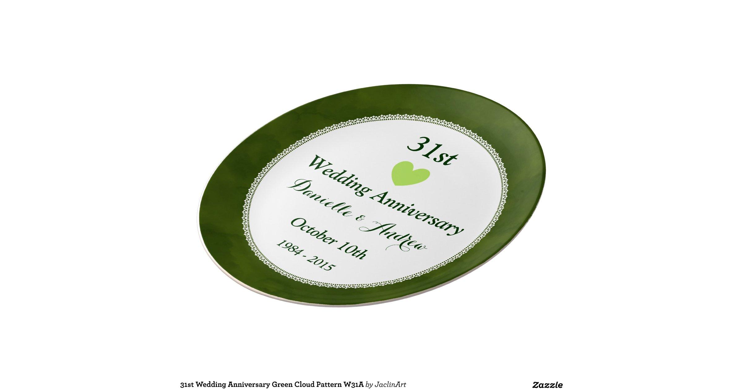 31st Wedding Anniversary Gifts: 31st Wedding Anniversary Green Cloud Pattern W31A