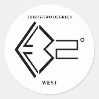 32º West Logo Classic Round Sticker