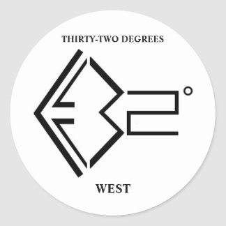 32º West Logo Round Sticker