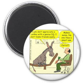 321 donkey genius smart a$$ color cartoon 6 cm round magnet