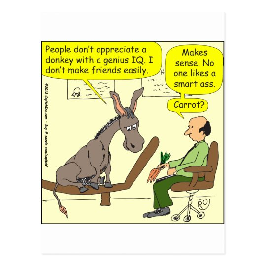 321 donkey genius smart a$$ colour cartoon postcard