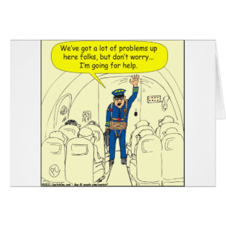 324 Airline pilot going for help color cartoon Card