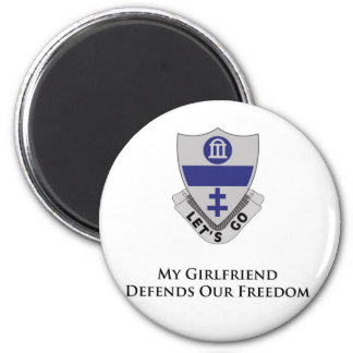 325th PIR- My girlfriend Defends Our Freedom 6 Cm Round Magnet