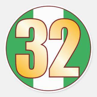 32 NIGERIA Gold Classic Round Sticker