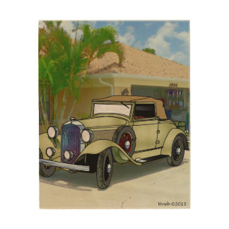 32 Plymouth Convertible in the Florida sUN Wood Wall Art