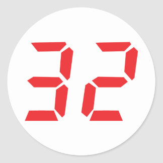 32 thirty-two red alarm clock digital number round sticker