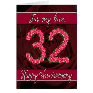 32nd anniversary card with roses and leaves