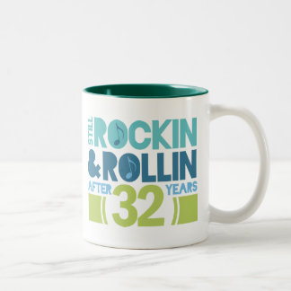 32nd Anniversary Wedding Funny Two-Tone Coffee Mug