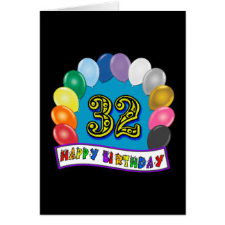 32nd Birthday Balloons Gifts Card