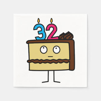 32nd Birthday Cake with Candles Paper Napkins
