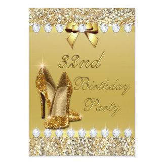 32nd Birthday Classy Gold Heels Sequins Diamonds Card