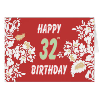 32nd birthday greeting card