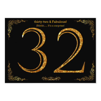 32nd Birthday party,Gatsby styl,black gold glitter Card