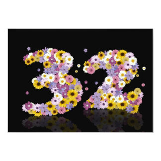 """32nd Birthday party, with flowered letters 5"""" X 7"""" Invitation Card"""