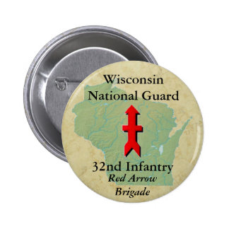 32nd Infantry with Wisconsin Map 6 Cm Round Badge