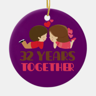 32nd Wedding Anniversary Gift For Her Christmas Ornament