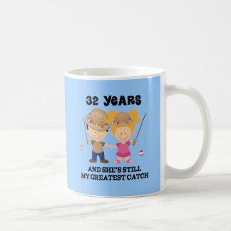32nd Wedding Anniversary Gift For Him Basic White Mug
