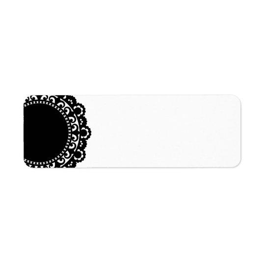 3332__doily-shape-1 BLACK WHITE CIRCLE SHAPES DOIL Return Address Label