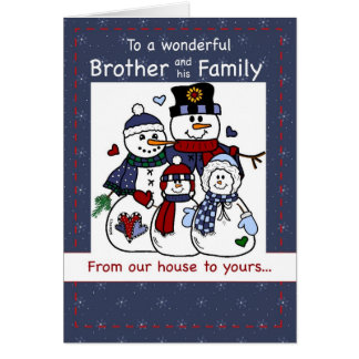 3396 Brother & Family Snowman Family Christmas Card