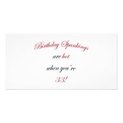 33 Birthday Spanking Customized Photo Card