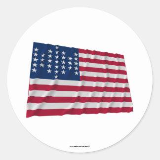 33-star flag, Fort Sumter garrison pattern Classic Round Sticker