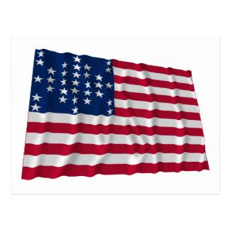 33-star flag, Fort Sumter storm pattern Postcard