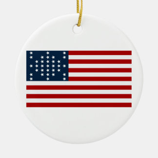 33 Star Fort Sumter American Civil War Flag Double-Sided Ceramic Round Christmas Ornament