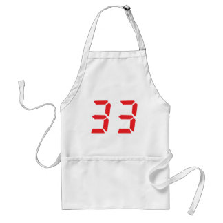 33 thirty-three red alarm clock digital numbr apron