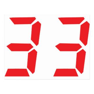 33 thirty-three red alarm clock digital numbr postcard