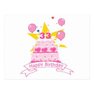 33 Year Old Birthday Cake Postcard