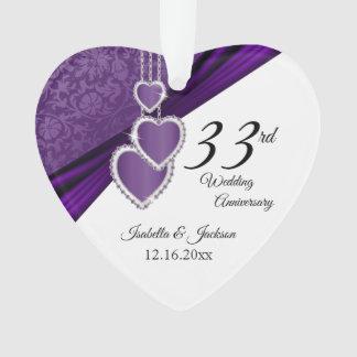 33rd  / 6th Amethyst Purple Anniversary Keepsake Ornament