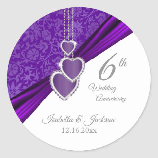 33rd / 6th Amethyst Wedding Anniversary Design Classic Round Sticker