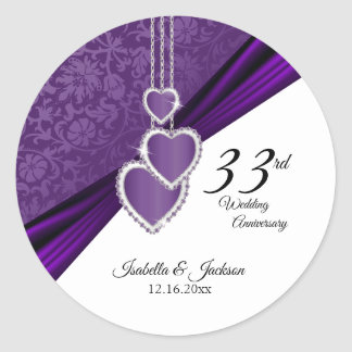 33rd Amethyst Purple Wedding Anniversary Classic Round Sticker