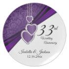 33rd Amethyst Purple Wedding Anniversary Keepsake Plate