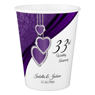 33rd Amethyst Purple Wedding Anniversary Paper Cup