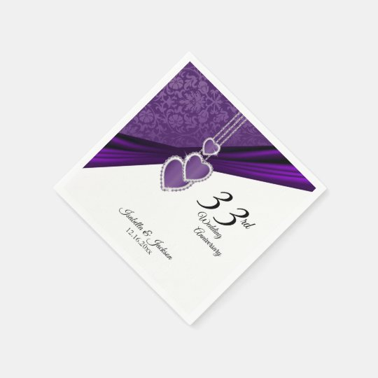33rd Amethyst Purple Wedding Anniversary Paper Napkin