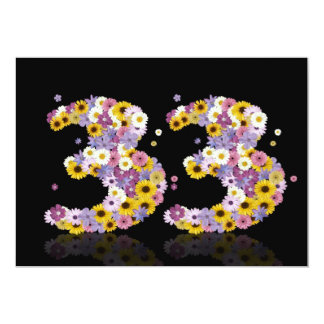 33RD Birthday party, with flowered letters Personalized Invite
