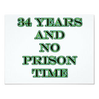 34 No prison time 11 Cm X 14 Cm Invitation Card