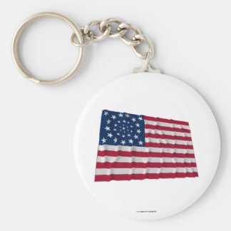34-star flag, Wreath pattern, outliers Basic Round Button Key Ring
