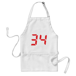 34 thirty-four red alarm clock digital numbr aprons