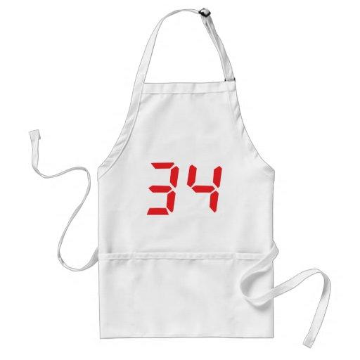 34 thirty-four red alarm clock digital numbr aprons