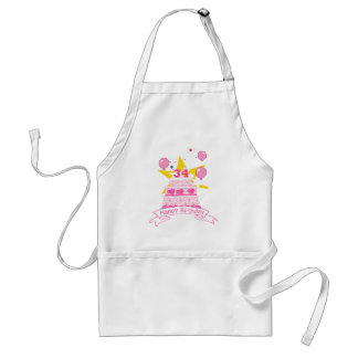 34 Year Old Birthday Cake Adult Apron