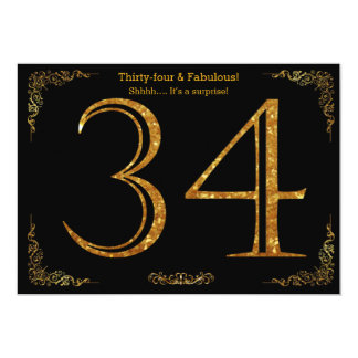 34th Birthday party,Gatsby styl,black gold glitter 13 Cm X 18 Cm Invitation Card