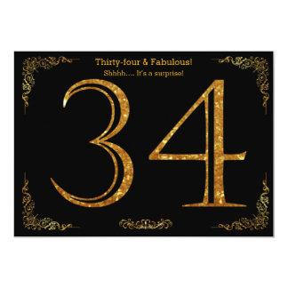 34th Birthday party,Gatsby styl,black gold glitter Card