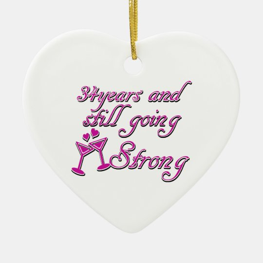 34th wedding anniversary christmas ornament
